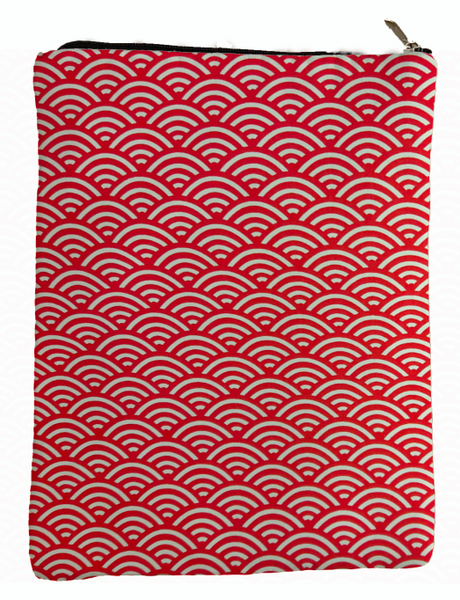 Red Waves Book Sleeve - Book Cover For Hardcover and Paperback - Book Lover Gift - Notebooks and Pens Not Included