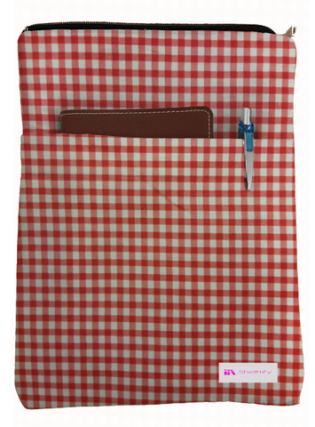 Red Checkered Book Sleeve - 100% Cotton Fabric