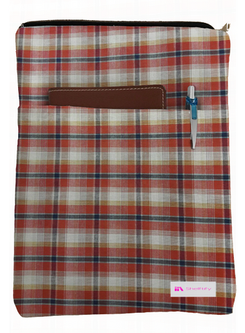 Red Plaid Book Sleeve - 100% Cotton Fabric