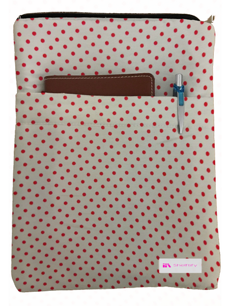 Red Polka Dot Book Sleeve - 100% Cotton Fabric