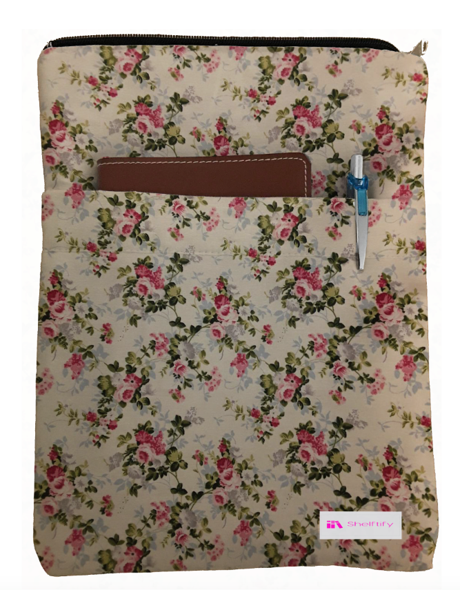 Red And Pink Flowers Book Sleeve - 100% Cotton Fabric