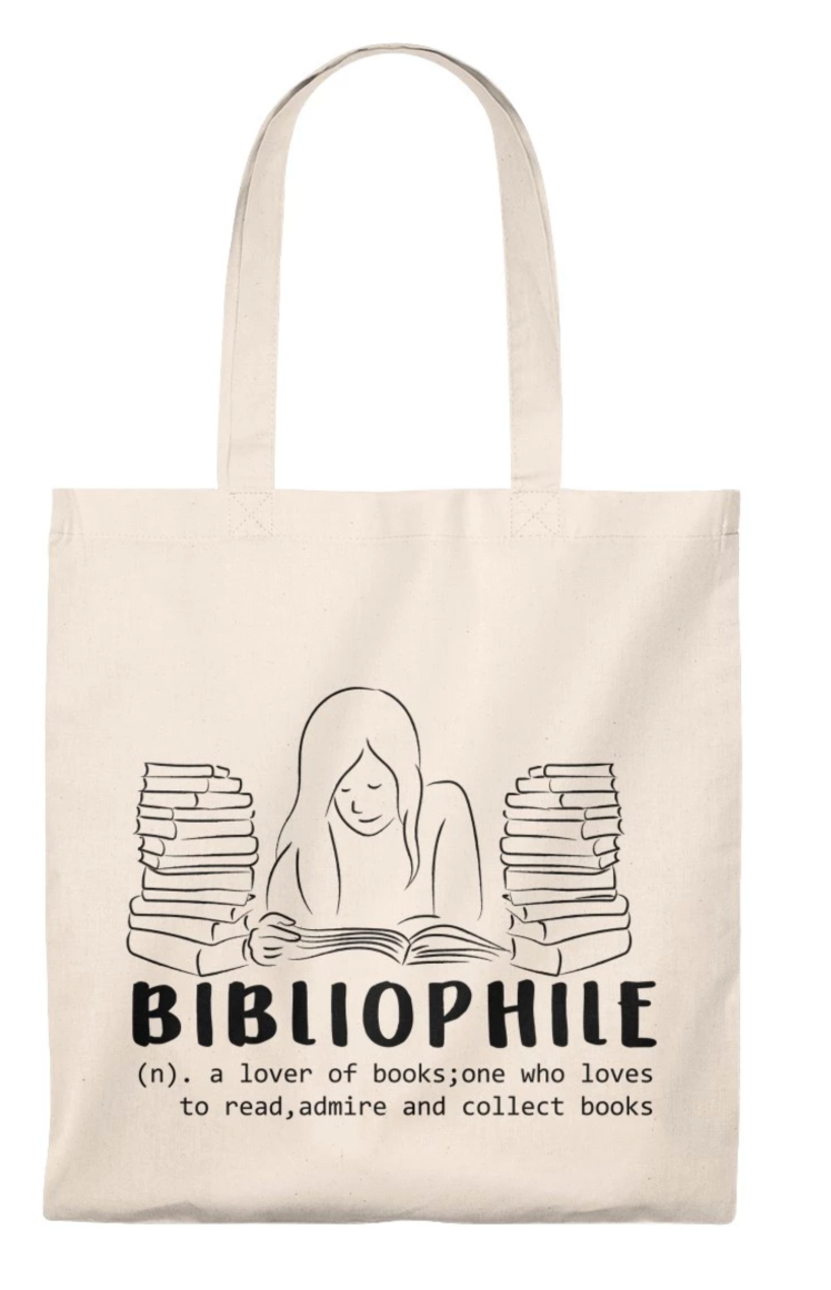 Bibliophile Tote Bag And 1 Different Funny Book Pattern - Neutral Color