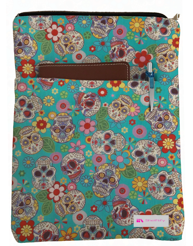 Skulls & Flowers Book Sleeve - 100% Cotton Fabric