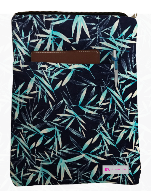 Blue Bamboo and 5 Different Floral Patterns Grande Book Sleeve - 100% Cotton Fabric