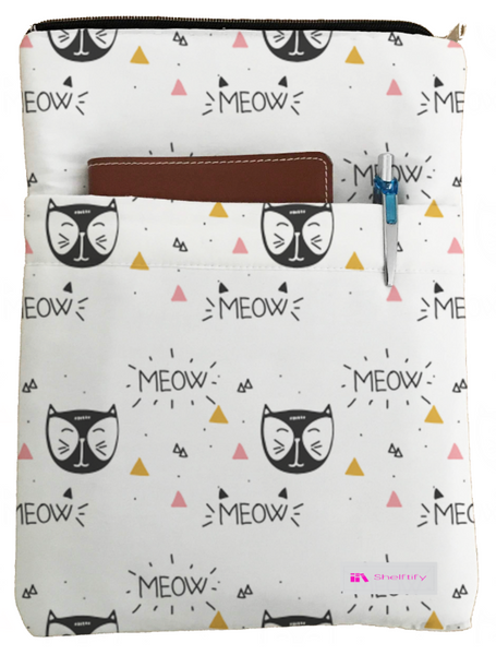 Meow Book Sleeve - Book Cover For Hardcover and Paperback - Book Lover Gift - Notebooks and Pens Not Included
