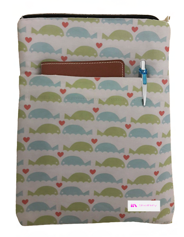 Whales with Hearts Book Sleeve - Deluxe Japanese Cotton