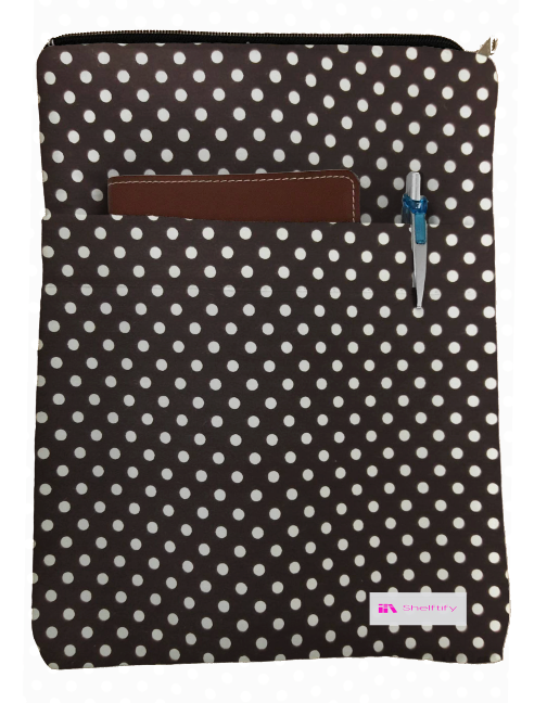 White Polka Dot Book Sleeve - 100% Cotton Fabric