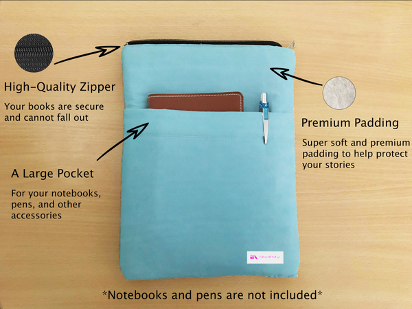 Pitunia Book Sleeve - Book Cover For Hardcover and Paperback - Book Lover Gift - Notebooks and Pens Not Included