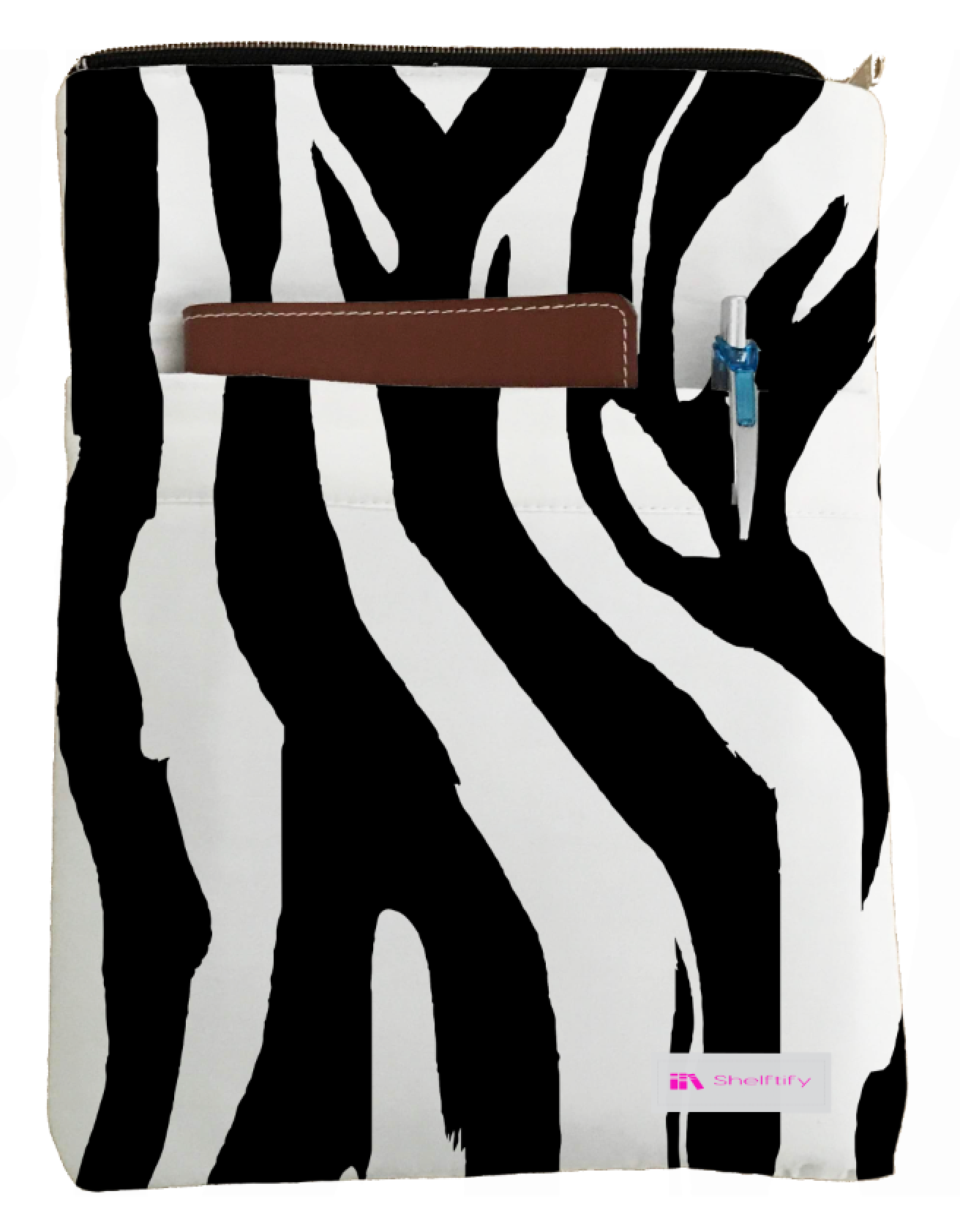 Zebra print Book Sleeve - Book Cover For Hardcover and Paperback - Book Lover Gift - Notebooks and Pens Not Included