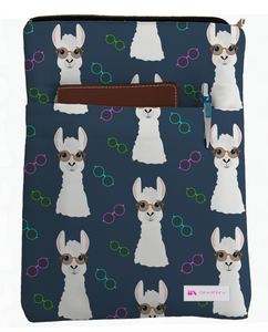 Nerdy Llama Book Sleeve - Book Cover For Hardcover and Paperback - Book Lover Gift - Notebooks and Pens Not Included