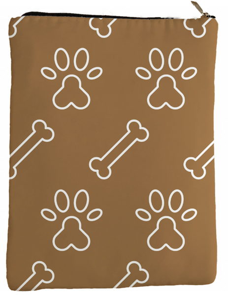 Brown Paws and Bones Book Sleeve - Book Cover For Hardcover and Paperback - Book Lover Gift - Notebooks and Pens Not Included