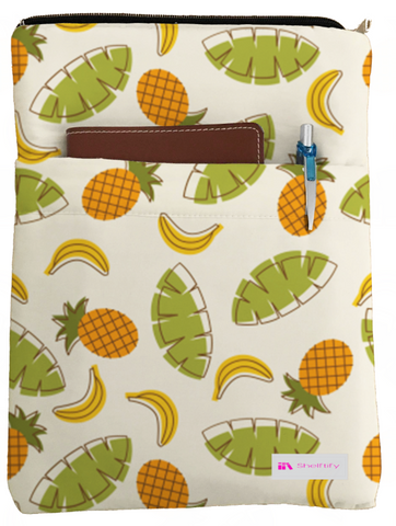 Pineapples and Bananas Book Sleeve - Book Cover For Hardcover and Paperback - Book Lover Gift - Notebooks and Pens Not Included