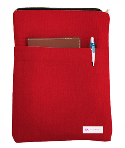 Apple red Book Sleeve - 100% Cotton Fabric