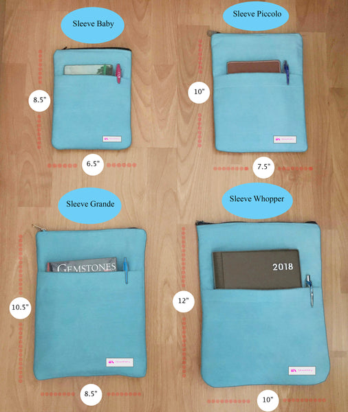 Complete Set of Blue Bamboo Book Sleeve - 100% Cotton Fabric