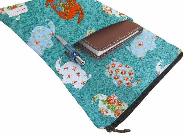Serene Elephants Book Sleeve - 100% Cotton Fabric