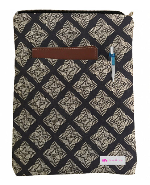 Black Illustration Book Sleeve - 100% Cotton Fabric