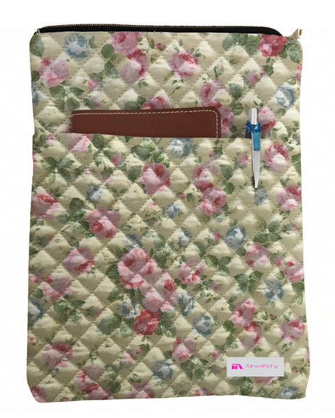 Pink Flowers Book Sleeve - Quilt Fabric