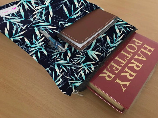 Blue Bamboo and 3 Different Floral Patterns Grande Book Sleeve - 100% Cotton Fabric
