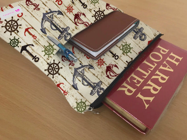 Rustic Anchor Book Sleeve - 100% Cotton Fabric