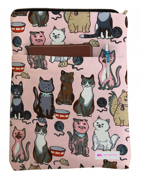 Pink Meow Book Sleeve - 100% Cotton Fabric