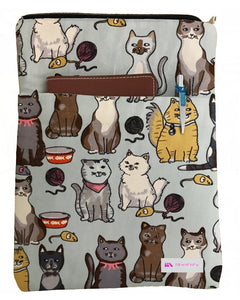 Blue Meow Book Sleeve - 100% Cotton Fabric