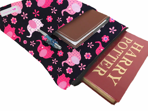 Pink Elephants Book Sleeve - 100% Cotton Fabric
