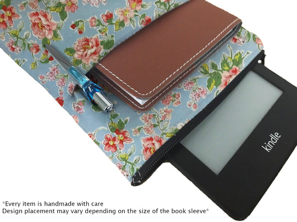 Red Flowers Book Sleeve - 100% Cotton Fabric