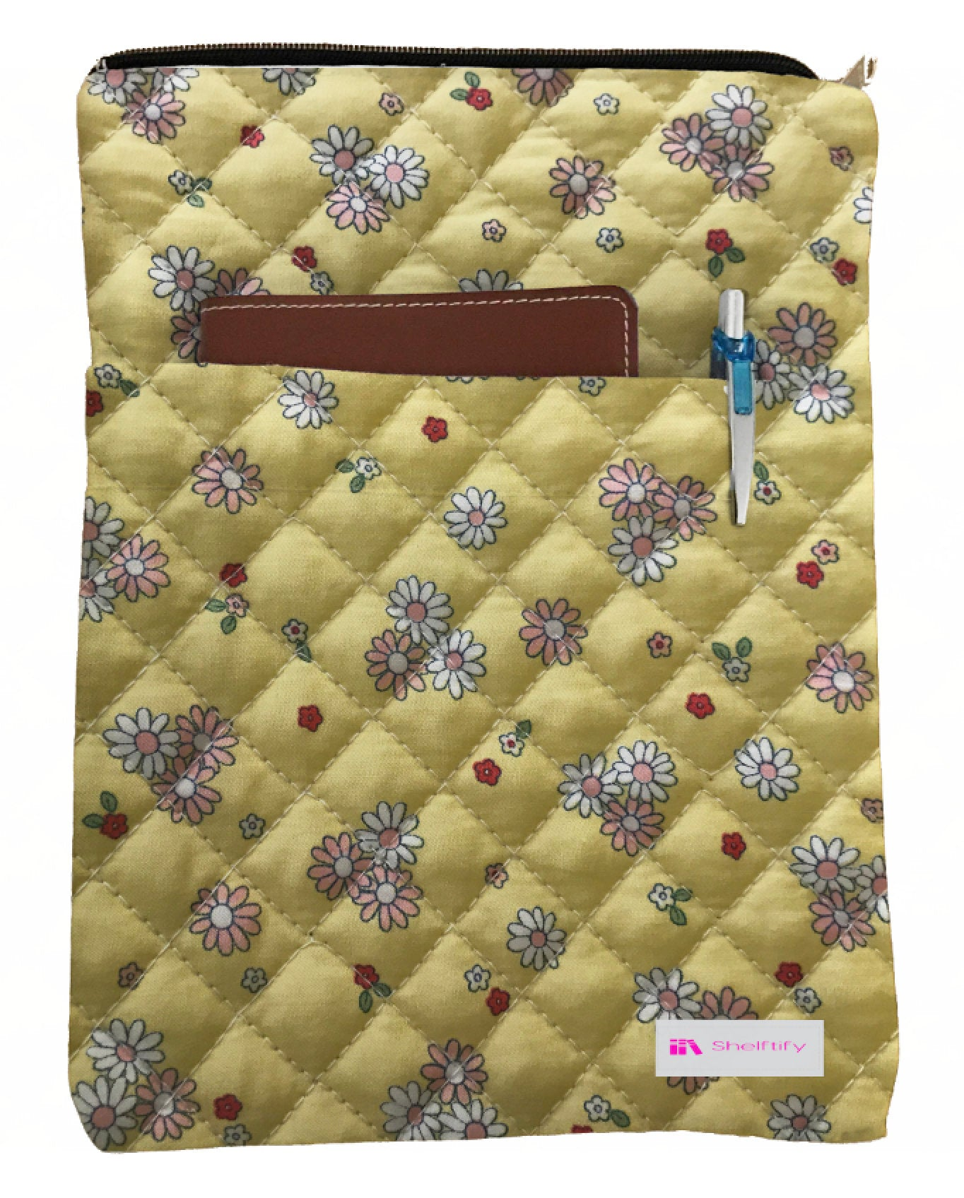 Little Flowers Yellow Book Sleeve - Quilt Fabric