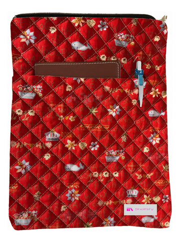 Whales & Flowers Book Sleeve - Quilt Fabric