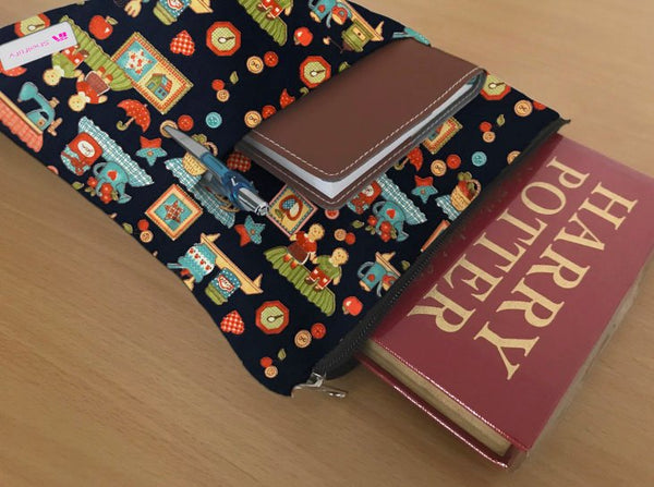 Black Cutie Twins Book Sleeve - 100% Cotton Fabric