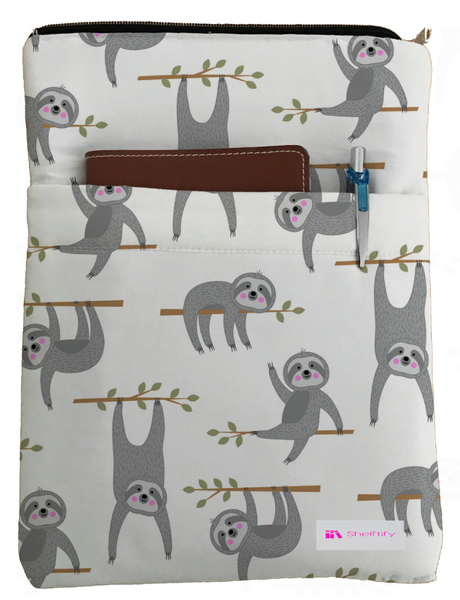 Baby Sloths Book Sleeve - Book Cover For Hardcover and Paperback - Book Lover Gift - Notebooks and Pens Not Included