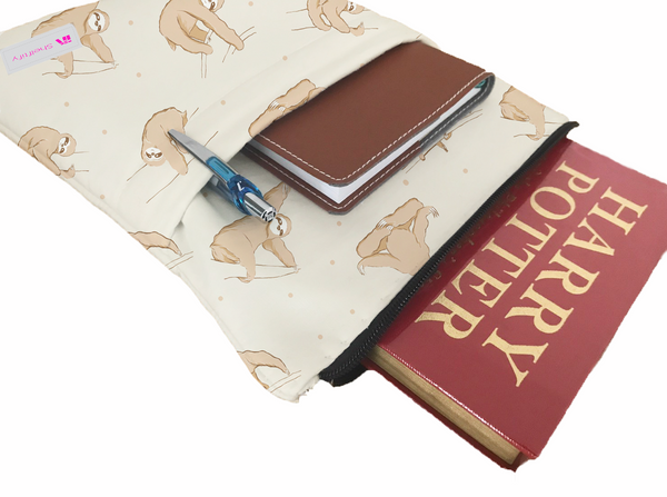 Yoga Sloths Book Sleeve - Book Cover For Hardcover and Paperback - Book Lover Gift - Notebooks and Pens Not Included