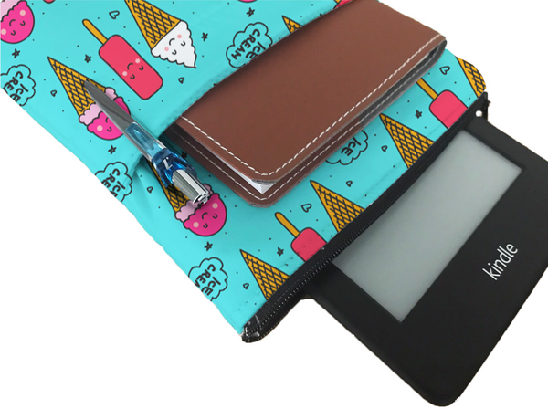 Ice Cream Book Sleeve - Book Cover For Hardcover and Paperback - Book Lover Gift - Notebooks and Pens Not Included