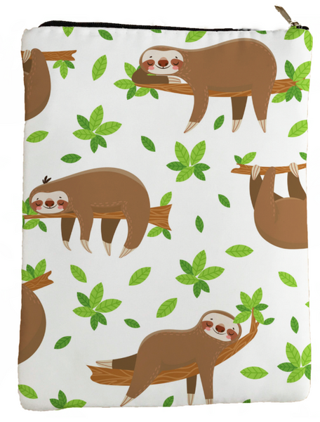 Happy Sloths Book Sleeve - Book Cover For Hardcover and Paperback - Book Lover Gift - Notebooks and Pens Not Included