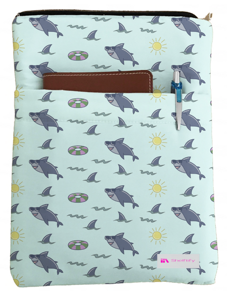 Happy Sharks Book Sleeve - Book Cover For Hardcover and Paperback - Book Lover Gift - Notebooks and Pens Not Included