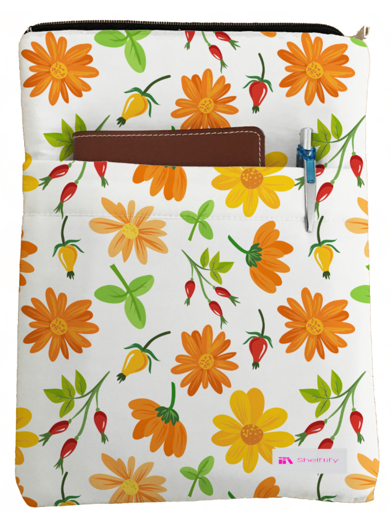Colorful Blossom Book Sleeve - Book Cover For Hardcover and Paperback - Book Lover Gift - Notebooks and Pens Not Included