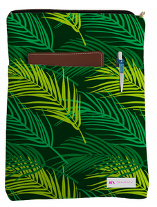 Green Leaves Book Sleeve - Book Cover For Hardcover and Paperback - Book Lover Gift - Notebooks and Pens Not Included