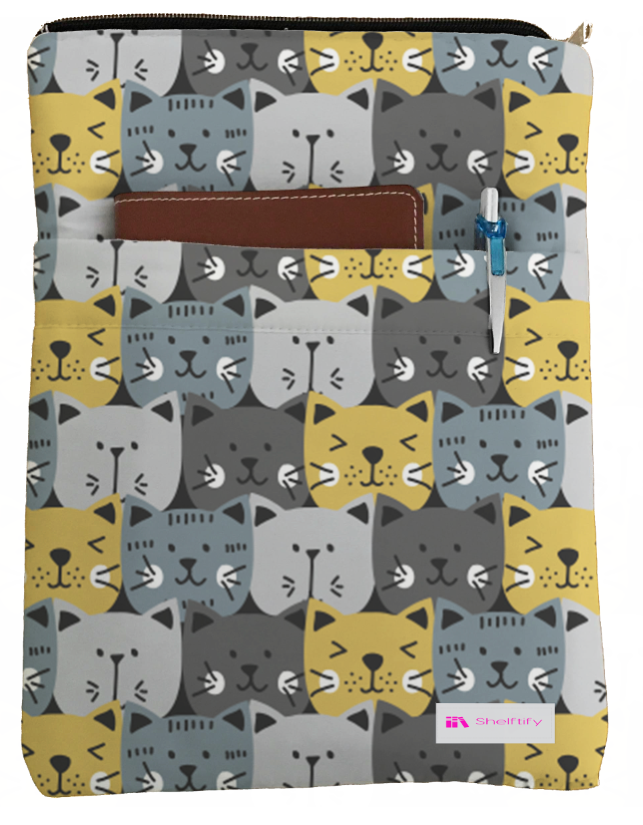 Cat Faces Book Sleeve - Book Cover For Hardcover and Paperback - Book Lover Gift - Notebooks and Pens Not Included