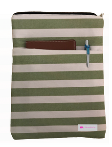 Green Stripes Book Sleeve - 100% Cotton Fabric