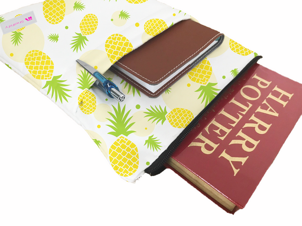 Pineapples 2 Book Sleeve - Book Cover For Hardcover and Paperback - Book Lover Gift - Notebooks and Pens Not Included