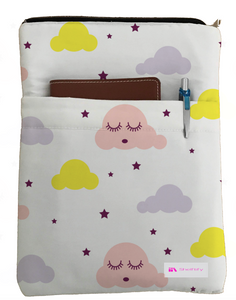 Sleepy Clouds Book Sleeve - Book Cover For Hardcover and Paperback - Book Lover Gift - Notebooks and Pens Not Included