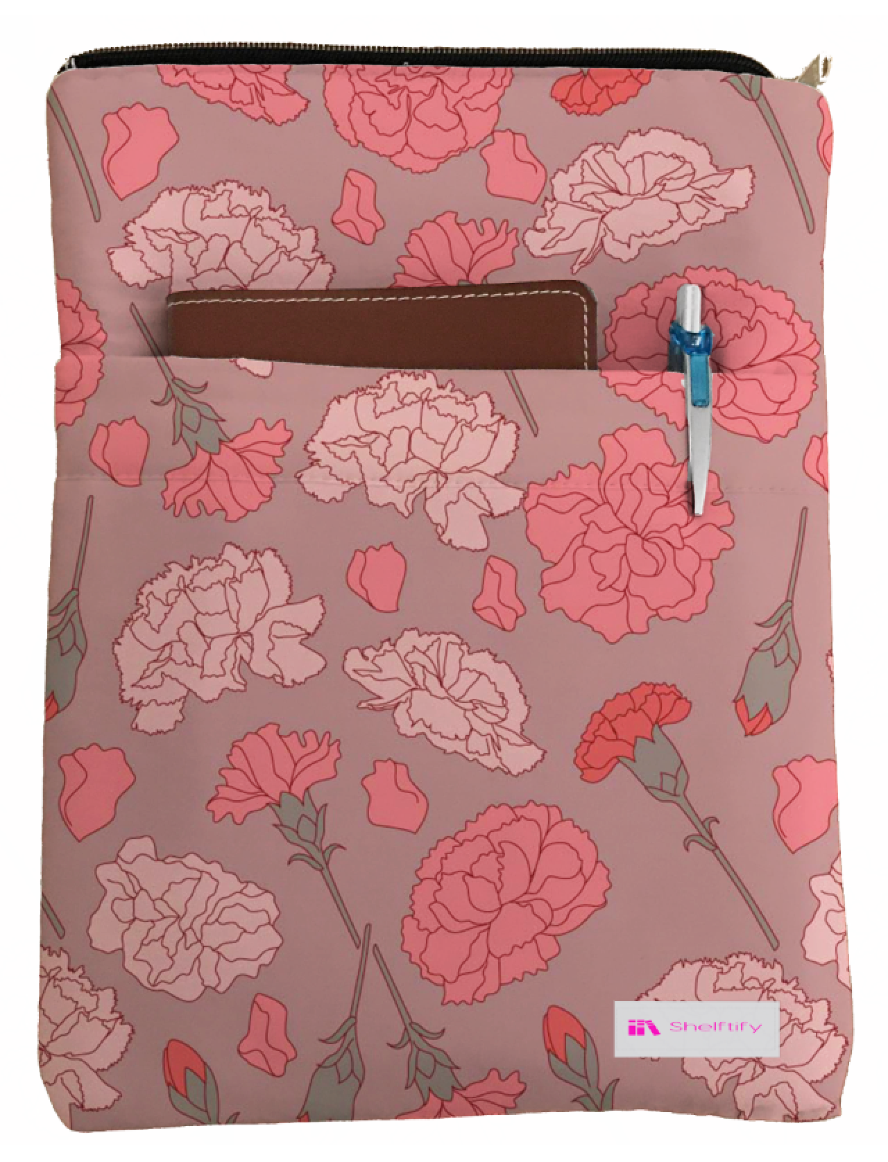 Carnation Book Sleeve - Book Cover For Hardcover and Paperback - Book Lover Gift - Notebooks and Pens Not Included