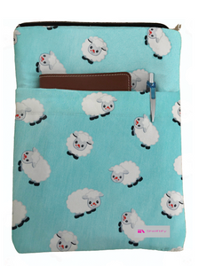 Blue Sheep Book Sleeve - 100% Cotton Fabric