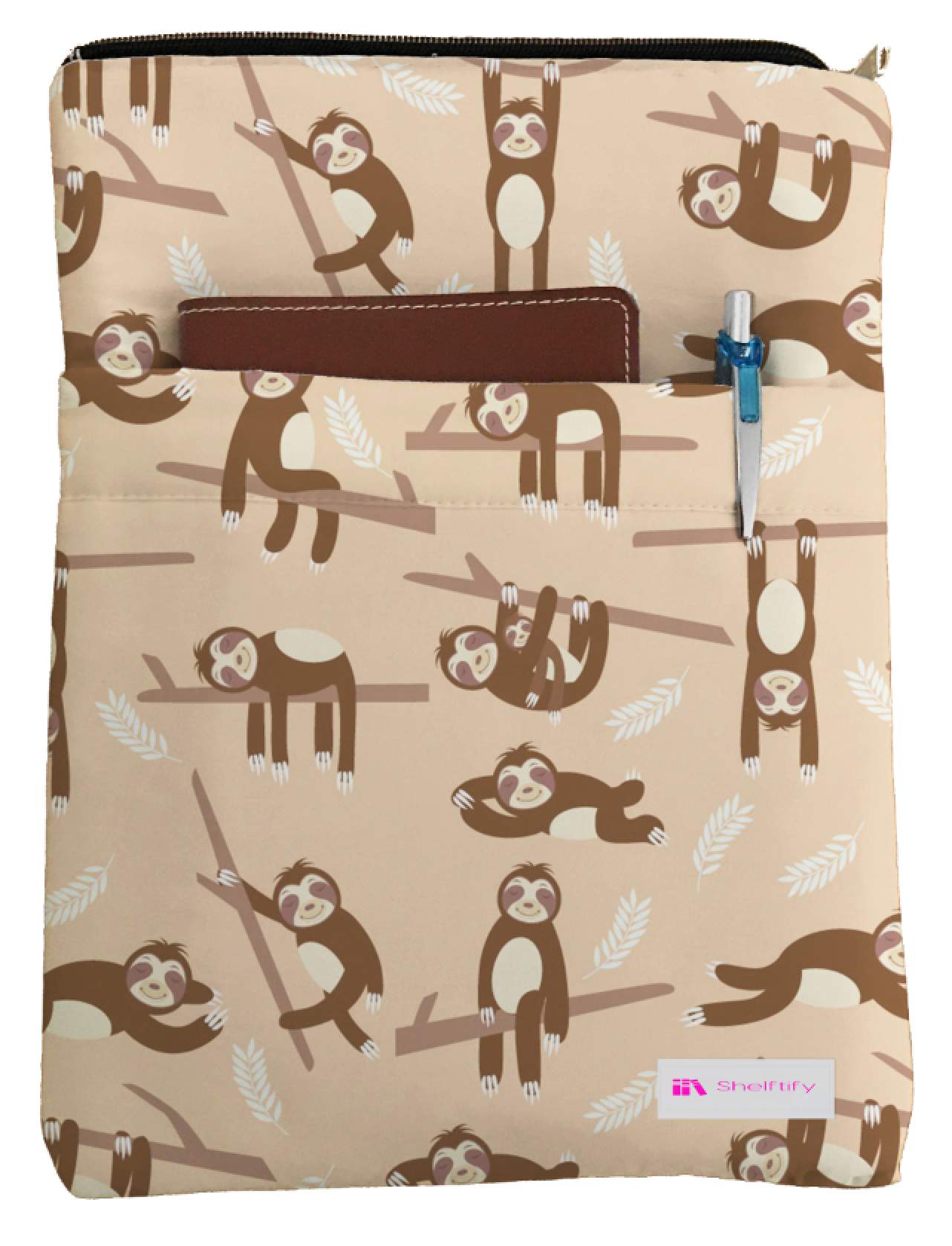 Cute Sloths Book Sleeve - Book Cover For Hardcover and Paperback - Book Lover Gift - Notebooks and Pens Not Included