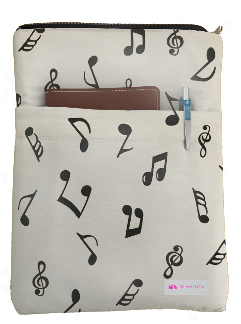 Musical Note Book Sleeve - 100% Cotton Fabric
