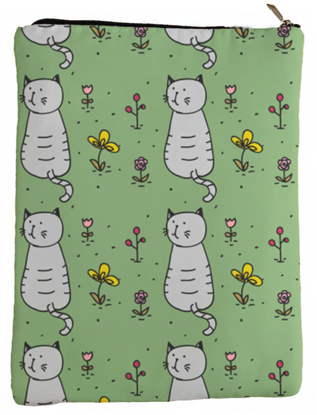 Cute Cats with flowers Book Sleeve - Book Cover For Hardcover and Paperback - Book Lover Gift - Notebooks and Pens Not Included