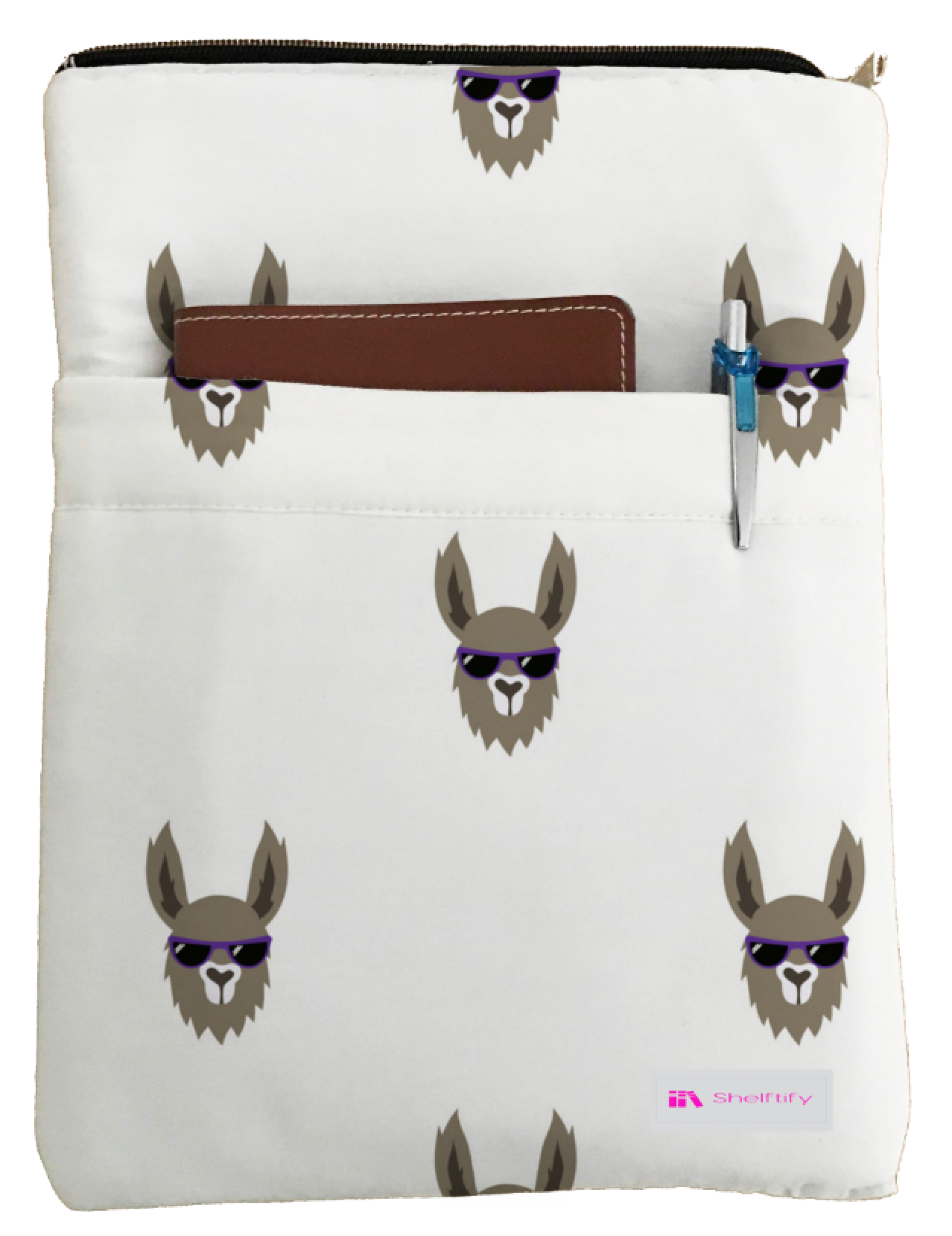 Cool Llama Book Sleeve - Book Cover For Hardcover and Paperback - Book Lover Gift - Notebooks and Pens Not Included