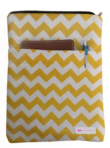 Yellow Chevron Book Sleeve - 100% Cotton Fabric