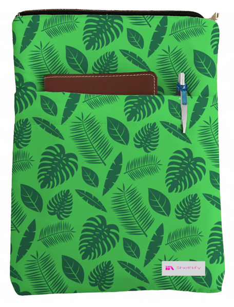 Illustrated Leaves Book Sleeve - Book Cover For Hardcover and Paperback - Book Lover Gift - Notebooks and Pens Not Included