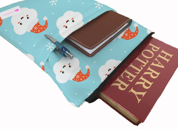 Ho Ho Ho Clouds Book Sleeve - Book Cover For Hardcover and Paperback - Book Lover Gift - Notebooks and Pens Not Included
